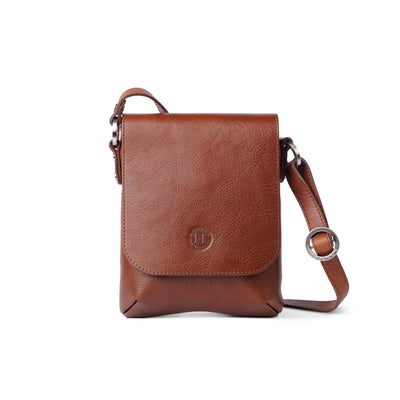 Eithne Medium Leather Crossover Bag Chestnut Brown - Holden Leathergoods, leather bags handmade in Ireland
