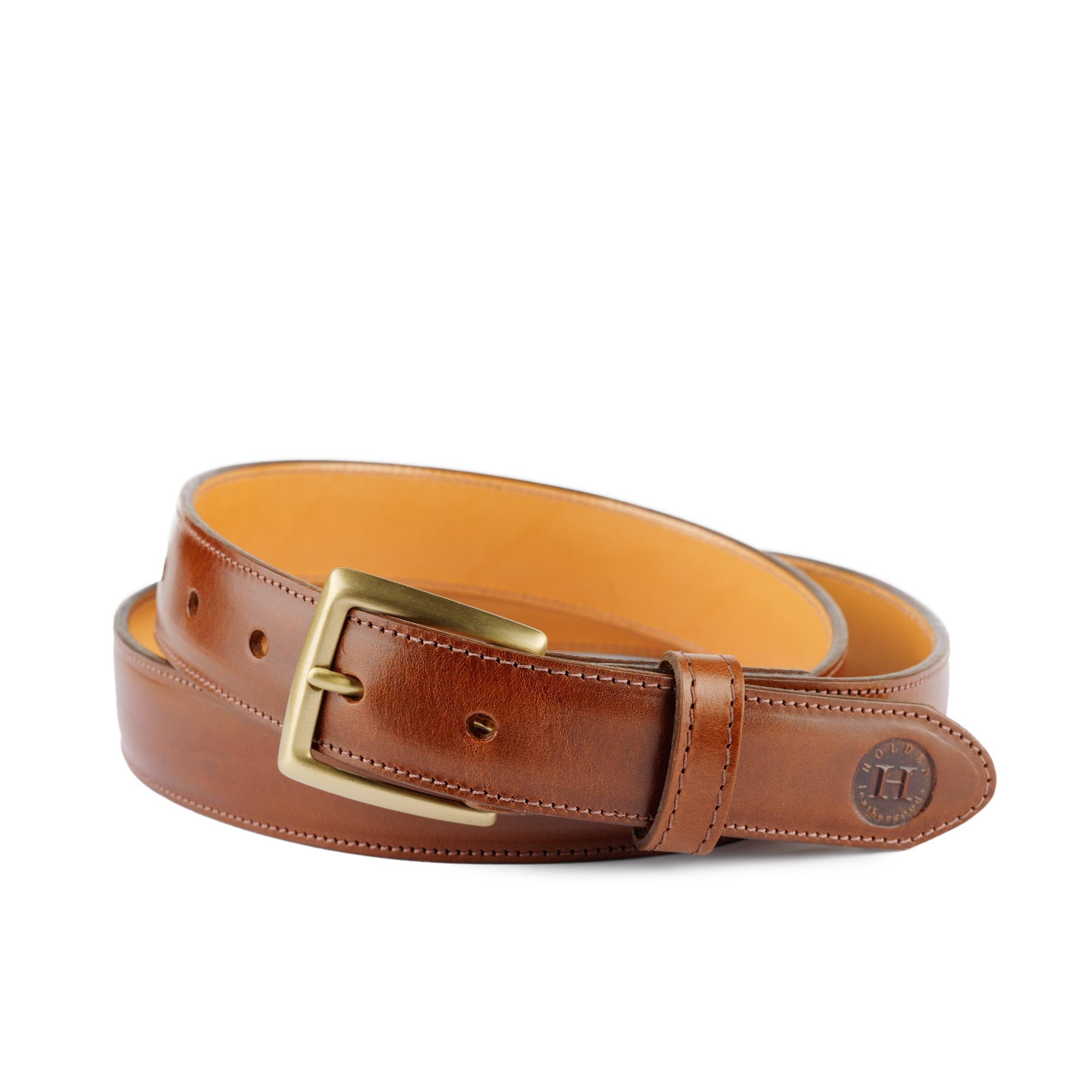 Holden Leather Dress Belt DB2 Chestnut - Holden Leathergoods, leather bags handmade in Ireland