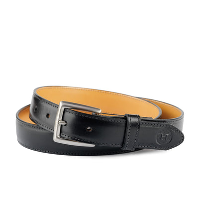 Holden Leather Dress Belt DB2 Black - Holden Leathergoods, leather bags handmade in Ireland