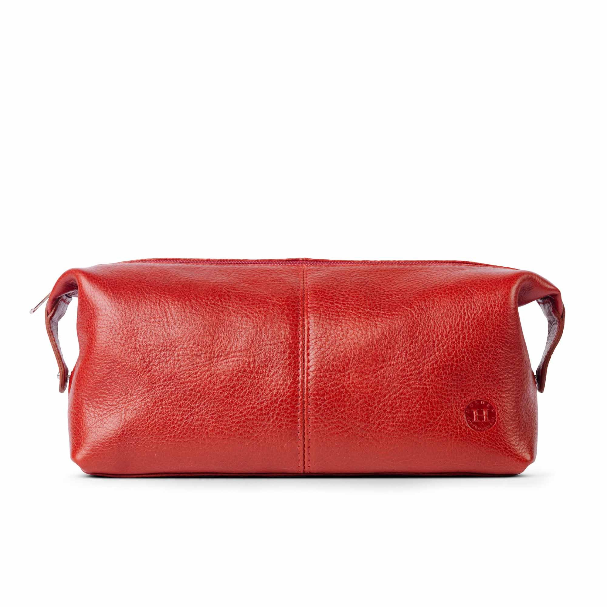Holden Leather Washbag Red - Holden Leathergoods, leather bags handmade in Ireland
