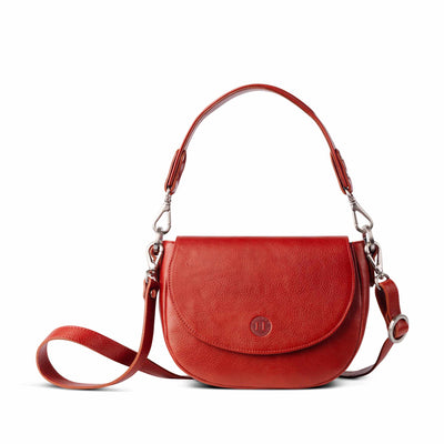 Roisín Medium Leather Saddle Bag Red - Holden Leathergoods, leather bags handmade in Ireland