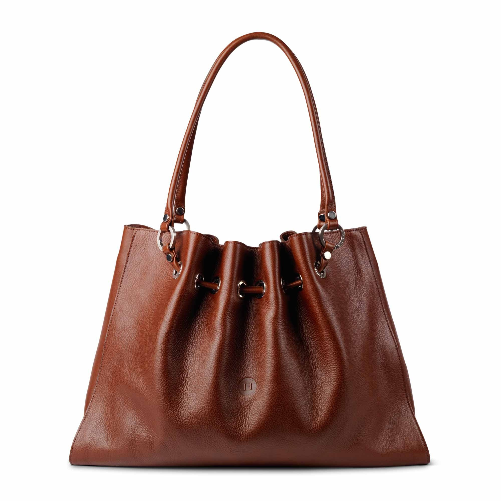 Siobhan Large Leather Tote Chestnut - Holden Leathergoods, leather bags handmade in Ireland
