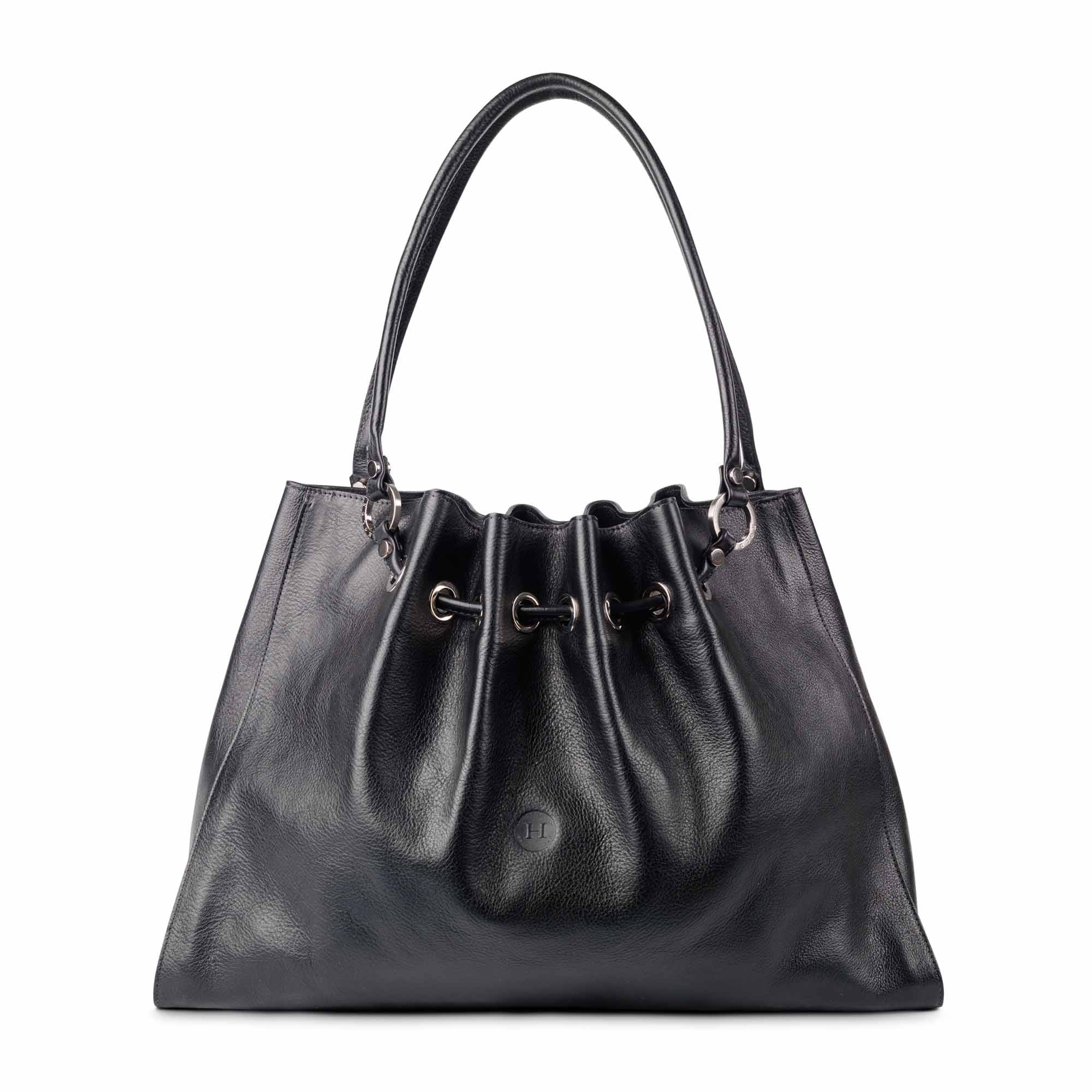Siobhan Large Leather Tote Black - Holden Leathergoods, leather bags handmade in Ireland