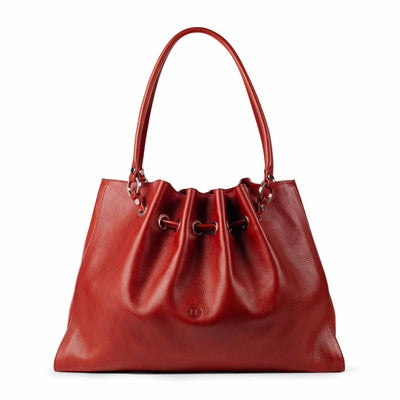 Siobhan Large Leather Tote Red - Holden Leathergoods, leather bags handmade in Ireland