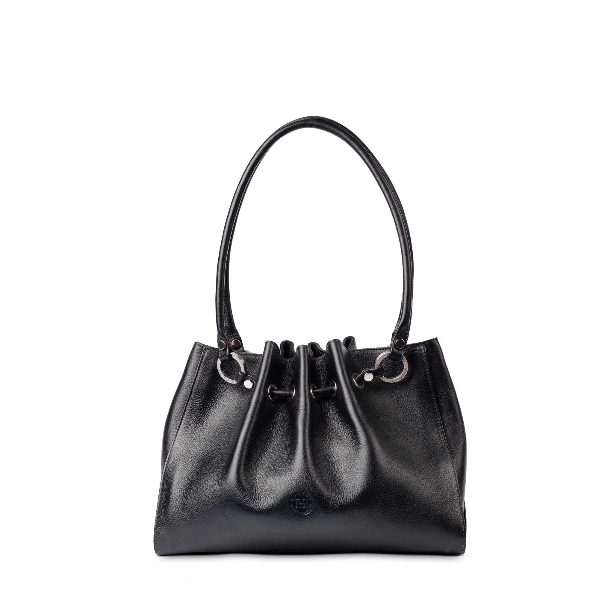 Siobhan Medium Leather Tote Black - Holden Leathergoods, leather bags handmade in Ireland