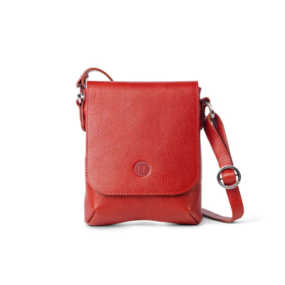 Eithne Medium Leather Crossover Bag Red - Holden Leathergoods, leather bags handmade in Ireland