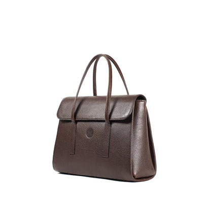 Isabel Medium Flap-Over Handbag - Dark Brown