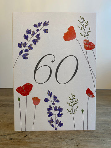 60 Birthday - Lupin and Poppies