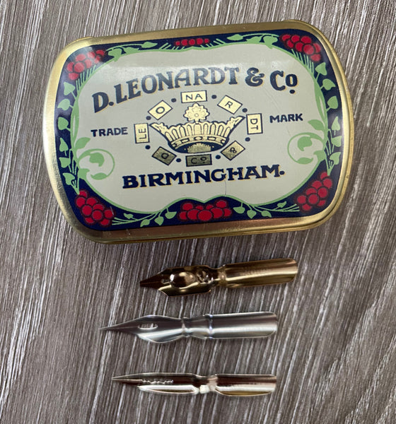 Manuscript Dip/Mapping Pen Nibs x 3 in Leonardt & Co. metal tin