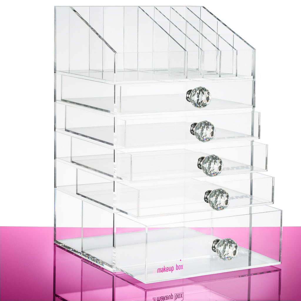 The Ultimate Makeup Organiser With Clear Crystal Handles The