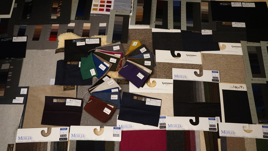 collection of 100% wool loden samples from austrian, italian and german weavers