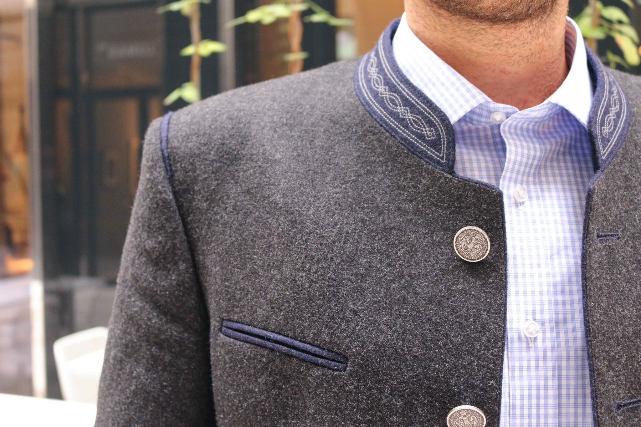 Robert W. Stolz loden wool jacket with stitched collar and metal buttons