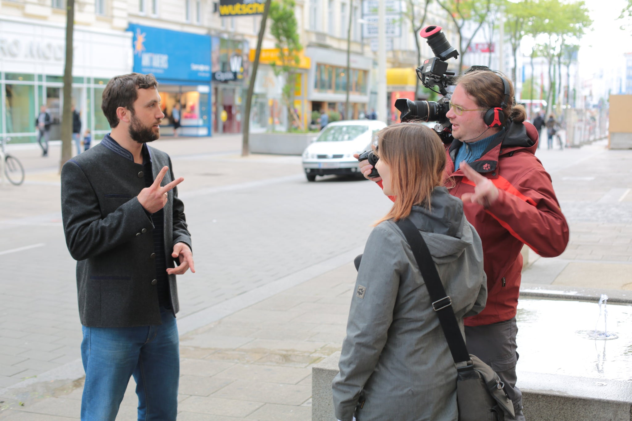 Robert being interviewed on Mariahilfe Strasse