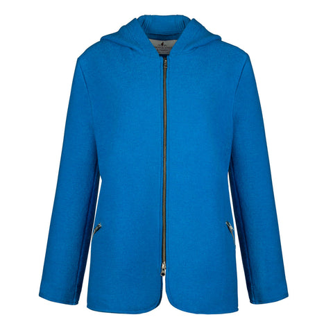 women's Austrian blue boiled wool zip up hoodie