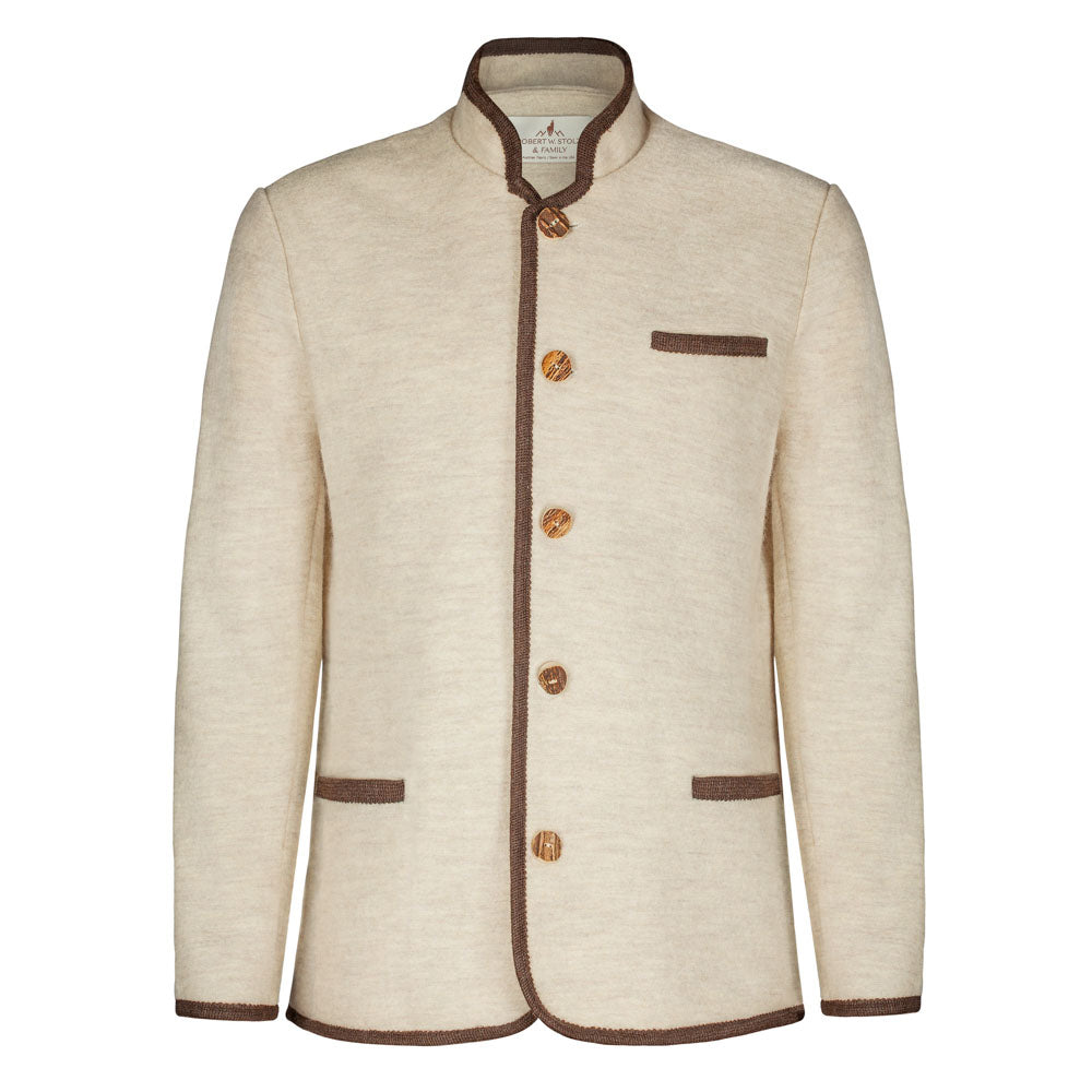 mens boiled wool jacket with horn buttons