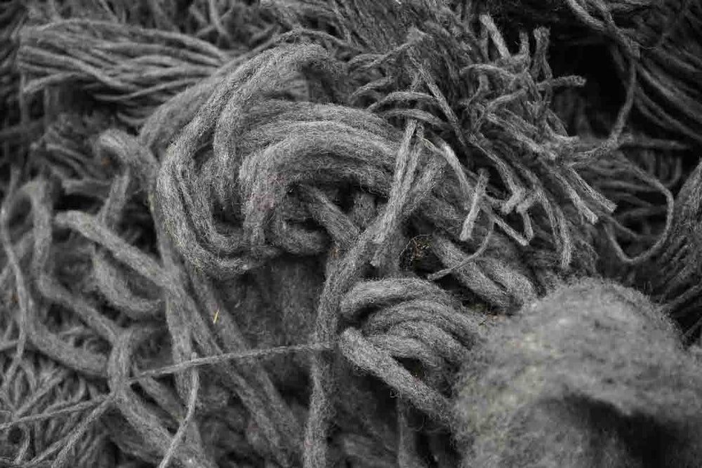 semi-raw wool discarded after carding in an austrian loden mill