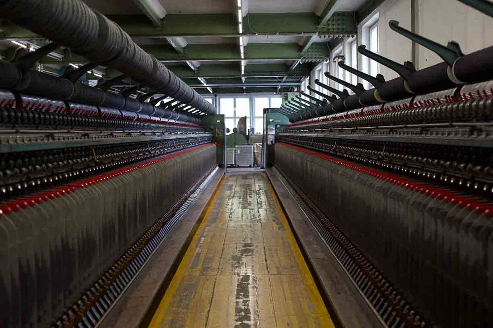 spinning operation at traditional woolen mill