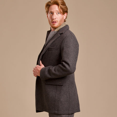 man wearing 100 percent Merino loden wool topcoat from Robert W. Stolz