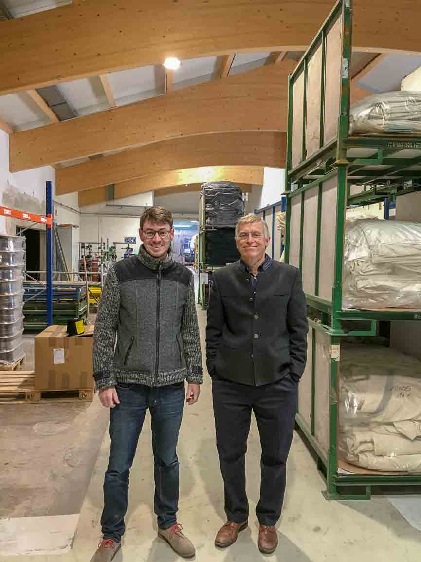Maximilian Mehler with Richard Stolz in the Mehler Mill in Germany