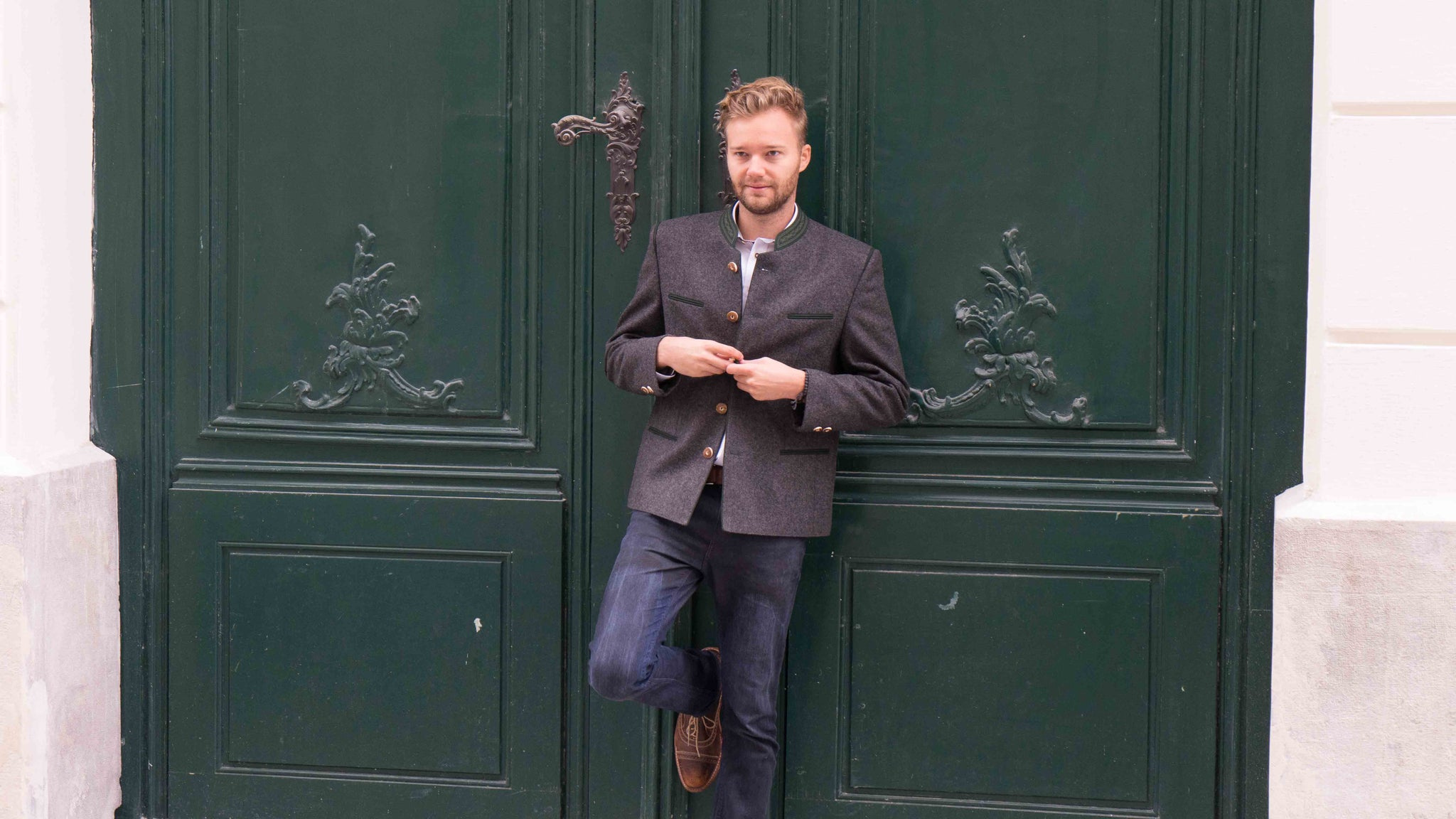 Photo Shoot for Robert W. Stolz in Downtown Vienna, Austria on October 8th featuring a loden jacket called the Edelmann