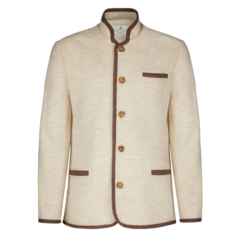 Robert W. Stolz Men's 3 pocket Boiled Wool Jacket in Tan with Brown trim