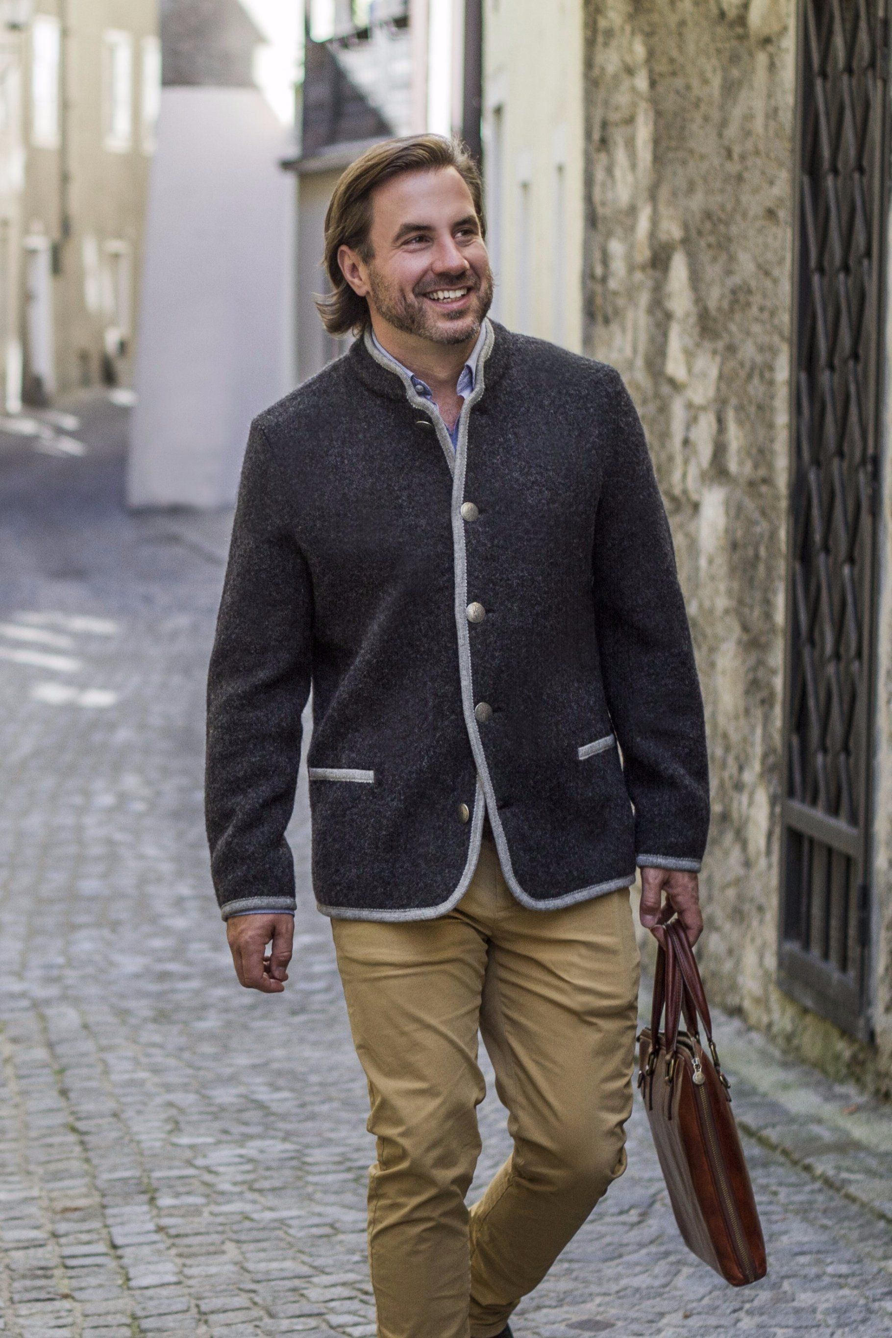 Thomas - Austrian Boiled Wool 'Walk' Jacket in Charcoal