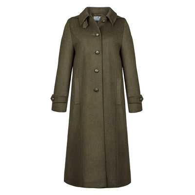 Silvia - Women's Long Loden Wool Coat with removable hood Green