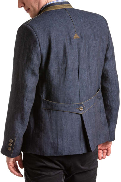 back view of a young man wearing a blue Austrian Linen Coat
