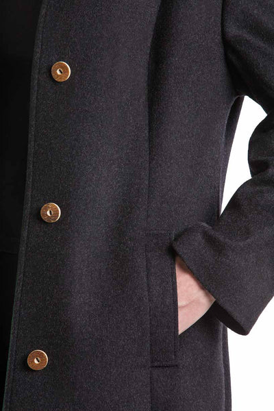 detail of a hand in the pocket of a blonde women wearing a long loden coat from Robert W. Stolz