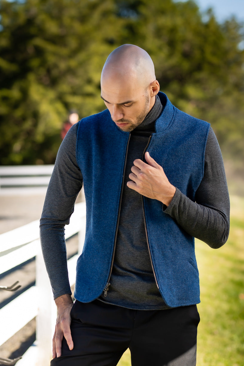 Men's Zip-Up Boiled Wool Vest 106