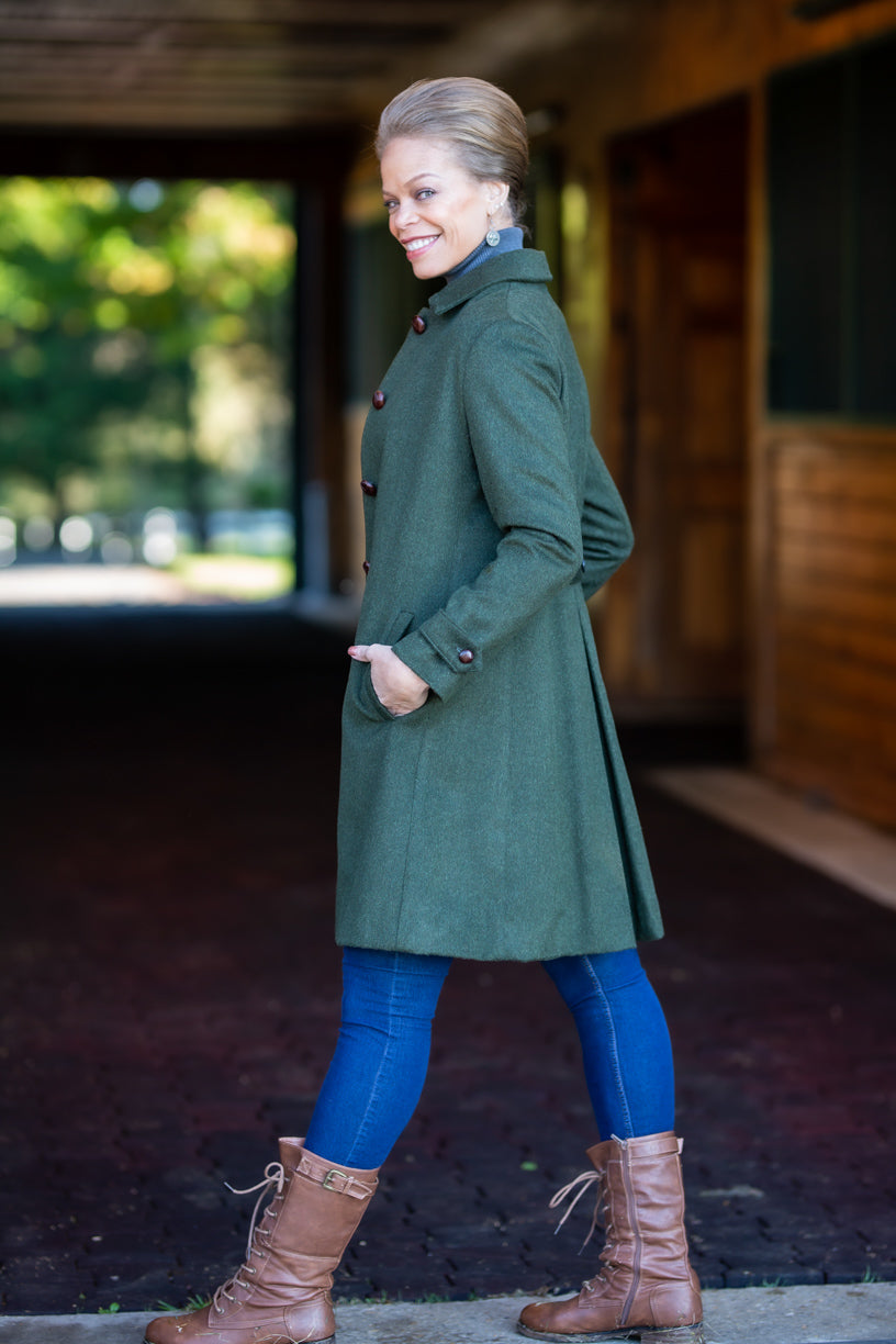 Styrian Regular Cut Loden Coat with Half Pleat