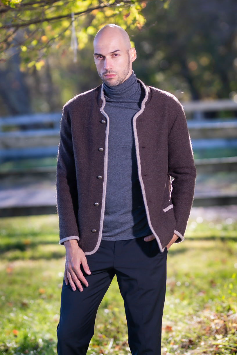 Men's Felted Wool Jacket with Trim 100