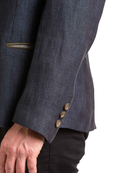 side portrait of a dark blue linen jacket austrian style made by Robert W. Stolz
