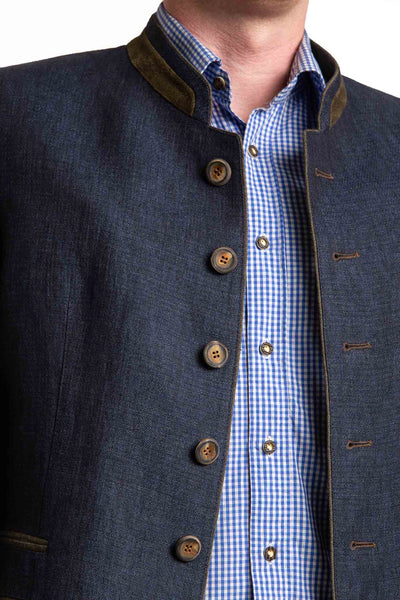 front portrait of a dark blue linen jacket austrian style made by Robert W. Stolz