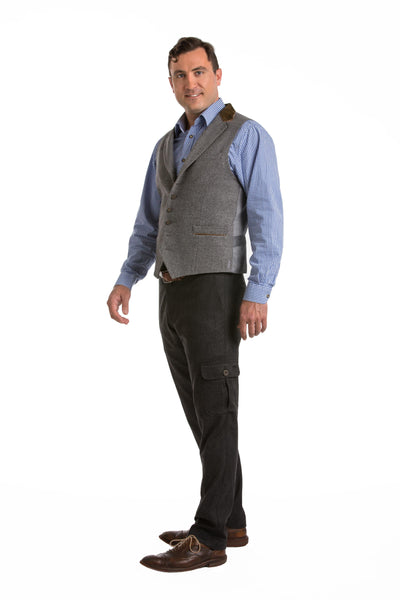 Spencer - Men's Trachten Loden Vest with Suede Collar