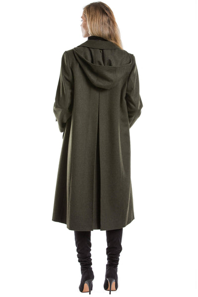 30 year old blonde women wearing pure loden wool coat