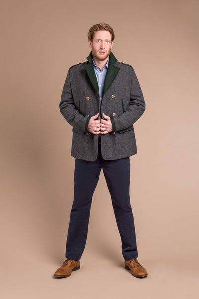 man wearing a fashionable wool peacoat