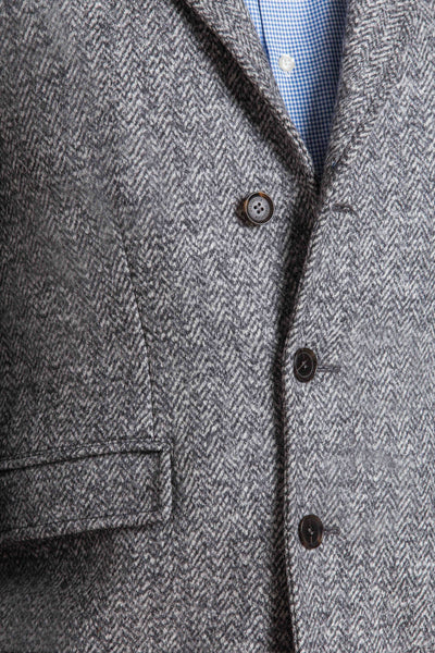 close up of herringbone weave of the wool overcoat