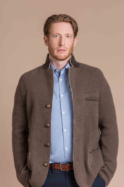 man wearing a boiled wool and cashmere austrian jacket