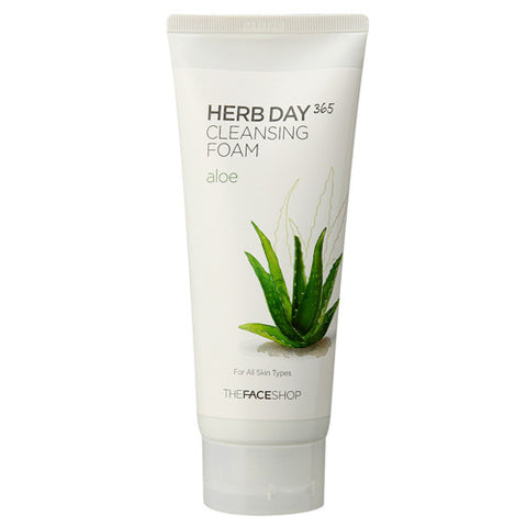 The Face Shop: HERB DAY 365 Aloe Cleansing Foam | Cosmic Beauty UK