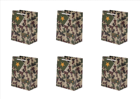 Camouflage Design Gift Bag Pk of 6