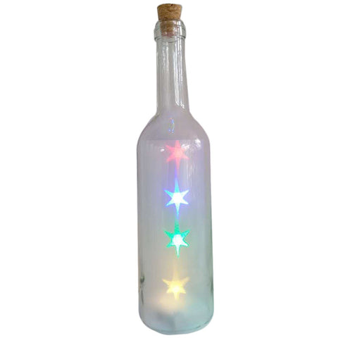 Decorative Bottle Jar with Multicoloured LED Stars Light
