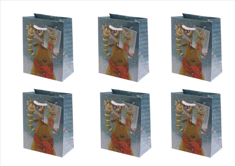 Jan Pashley - Christmas Reindeer Design pk 6 Gift Bags
