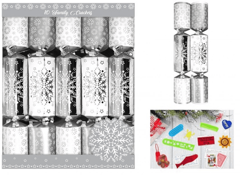 Pack of Ten Family Crackers SILVER SNOWFLAKE 30cm