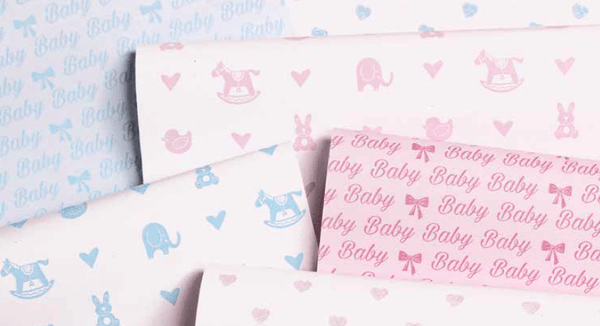 Printed Rollwrap Paper Gift Wrap - 2M - Les Petits Baby Pink