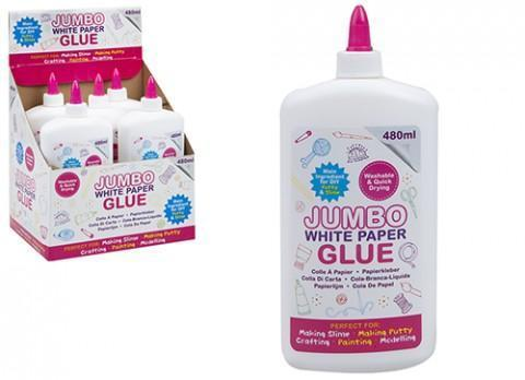 JUMBO 480ML WHITE PAPER GLUE - Washable & Quick Drying