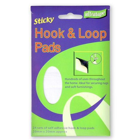 Adhesive - Pack Of 24 - Ultratape Hook & Loop Pads Sticky Pads Self Adhesive 20mm X 20mm - Pk24