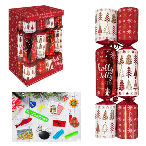 Pack of Twelve Family Crackers Red / White Holly Jolly 30cm