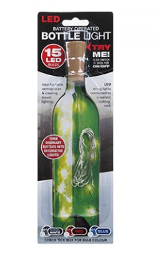 Decorative Bottle Light with 15 LED Light string 0.6W - Cool White