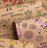 Printed Kraft Paper Gift Wrap Pack 1 Roll - 3M - Doodles Green Monsters